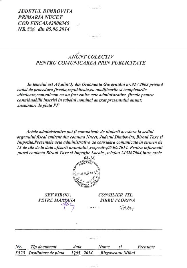 Anunt Colectiv din 05.06.2014